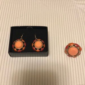 Peaches & Cream Cocktail Earrings and Ring Set